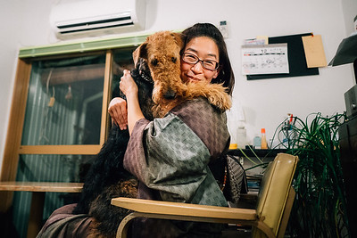 Chou-Chou Sensei with her dog, 2017