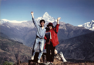 Dampus, Nepal, 1987 My mother and I on a hilltop looking over Mt. Machhapuchhare.  Hari accompanied us all the way.  It was a memorable trip.