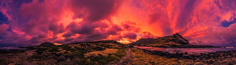 Sunset from Makapuu, Oahu, Hawaii.