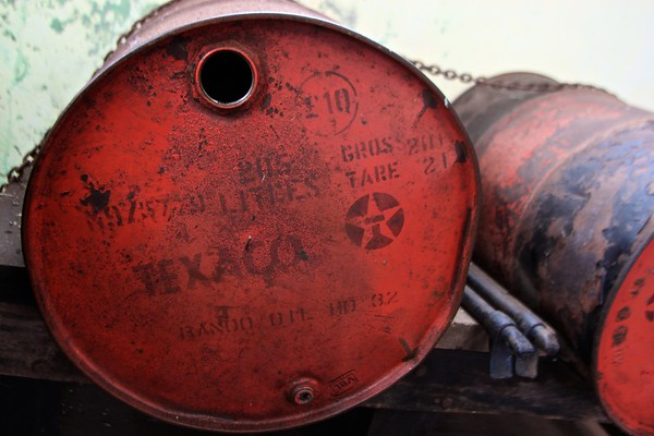 Petrol barrel, Geevor Tin mine, Botallack, Cornwall, UK, 2011