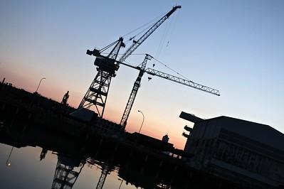 Shipyard cranes at dusk, Ficantieri Montfalcone, Italy, 2013