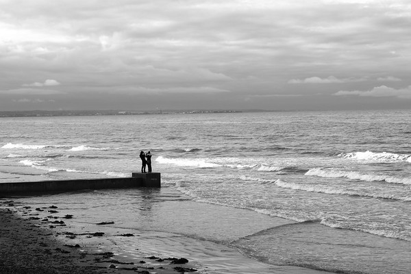 Braving the weather, Redcar, UK, 2010