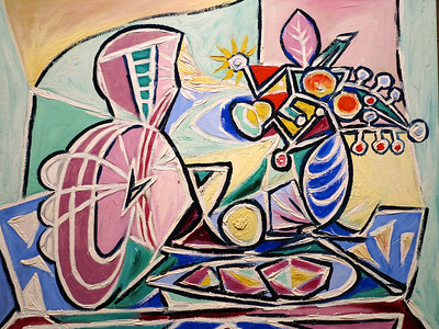 """Pablo Picasso.   """"Mandolin and Vase of Flowers.""""  1934."""