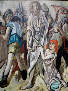 Max Beckman.   Christ and the Woman Taken in Adultery.  1917.