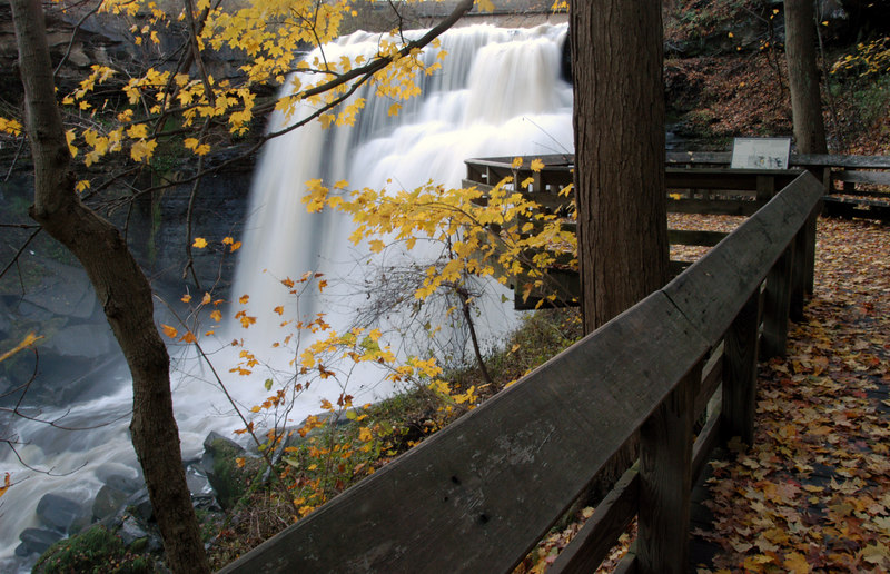 Cuyahoga Valley National Park is located just south of Cleveland Ohio.  It covers much of the Cuyahoga Valley and the Cuyahoga River flows through it.  There are several waterfalls within the park.  This is Brandywine Falls.