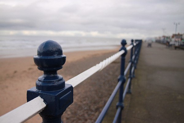 White and blue fence, Redcar, North Yorkshire, UK, 2010