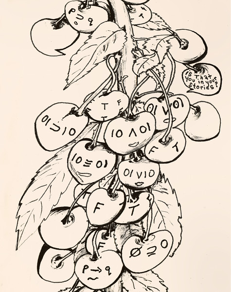 "Cherry-Face Logic. Ink on paper, 6"" x 10"", 2005."