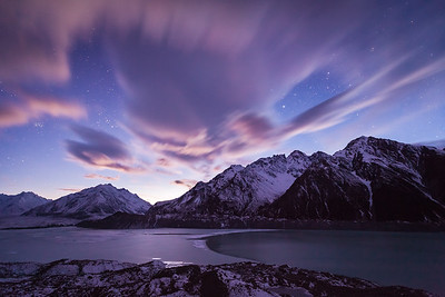 Beginning of dawn, Tasman Lake, Aoraki Mount Cook National Park