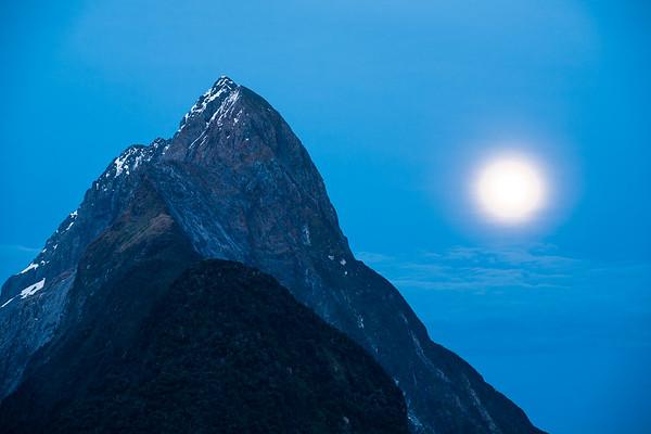 Mitre Peak by moonlight, Milford Sound, Fiordland National Park