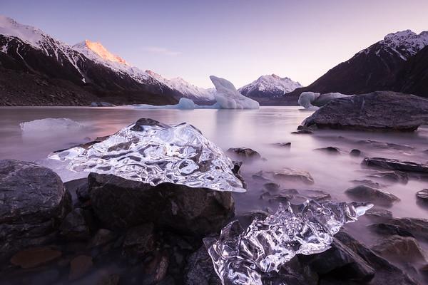 Mini ice bergs on the shore of the Tasman Glacier Terminal Lake. Tasman Valley, Aoraki Mount Cook National Park