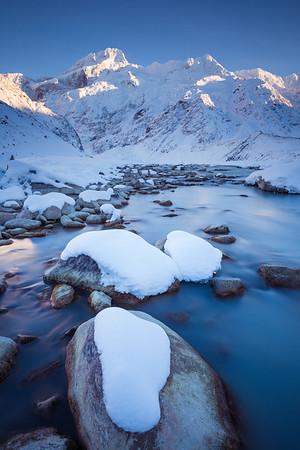 Mount Sefton, The Footstool and Mueller Glacier lake outlet, Aoraki Mount Cook National Park