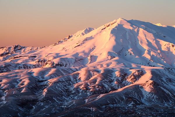 Early morning light on Waihohunu Ridge, Mount Ruapehu. Tongariro National Park