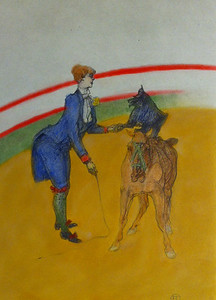 Toulouse-Lautre Lithograph colored with Pan Pastel and Colored Pencil.
