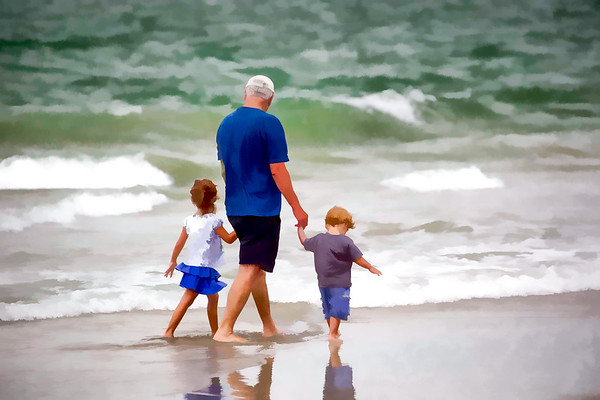 Family Walking in the Surf