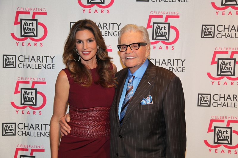 . Actress and model Cindy Crawford with Art Van Eslander, who was well known for his charitable contributions and the Art Van Charity Challenge, an annual event that helps to raise funds for local charities.