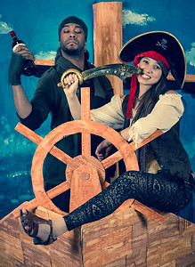 Photobooth pirates et créatures de la mer (décor par l'équipe du Desert Stomp)