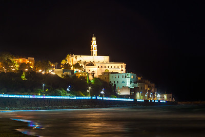 Night Seascape of Old Jaffa from the sea coast