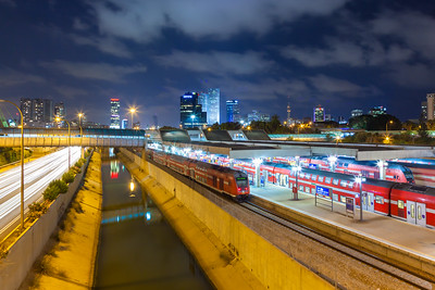 Urban night view of Tel Aviv
