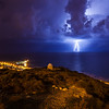 Fantastic moment of lightning over the Mediterranean