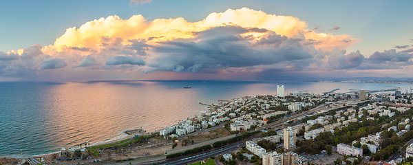 Fantastic panoramic sunset over the Mediterranean sea shot from Stella Maris, Haifa
