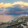 Fantastic panoramic sunset over the Mediterranean sea shot from Stella Maris, Haifa