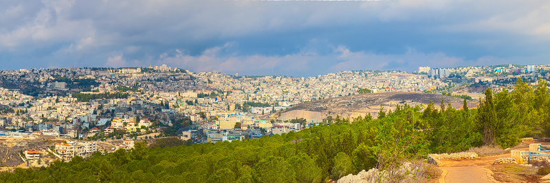 Panoramic view of Nazareth from Jumping mountain. Israel.