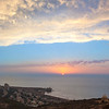 Fantastic pano sunset over the Mediterranean sea