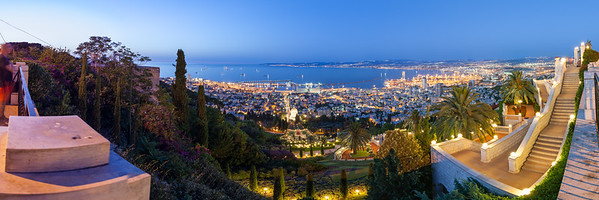 Fantastic panoramic view of Mediterranean coast in the evening. Haifa bay in Israel.