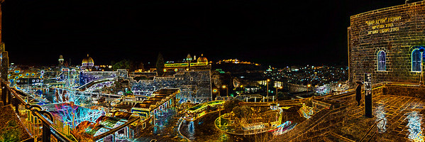 Jerusalem of Gold at Night illustration in neon colors/