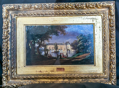 Old Painting of Chateau de  Chenonceau with the Gallery completed