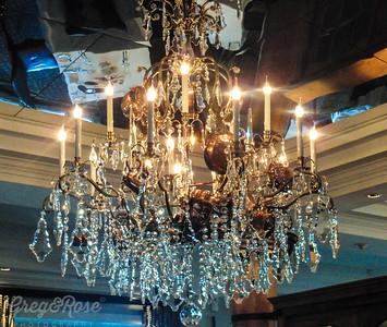 Gold chandelier.
