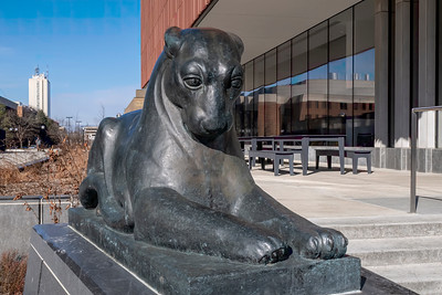 Carved Pumas in front of the new Museum of Natural History