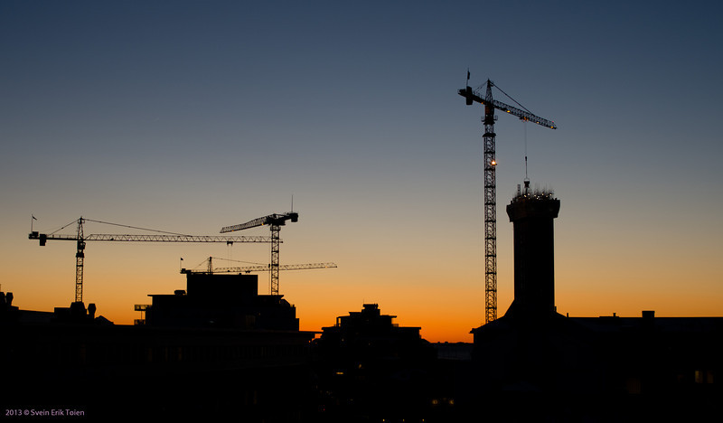 After sunset<br /> Multiple building sites, Bodø