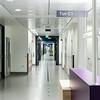 Korridor i sengefløyer - siktlinje fra sengetun i C- fløy til B-fløy