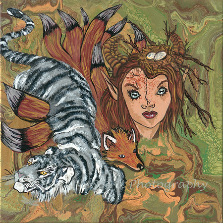 West White Tiger Earth w/Nine-Tailed Fox