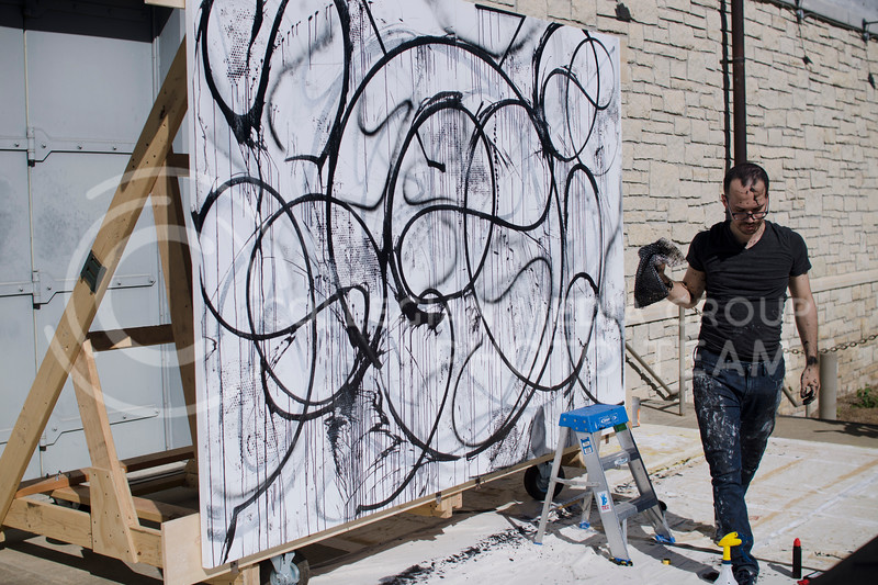 Live painting performance by Enrico Isamu Oyama during Art in Motion event at the Marianna Kistler Beach Museum of Art on October 7, 2017 (Saya Kakim| Collegian Media Group)