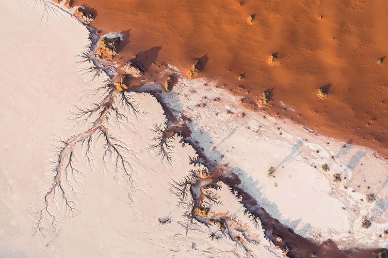 Aerial capture of Sossusvlei, Namibia, where the sand meets the salt.