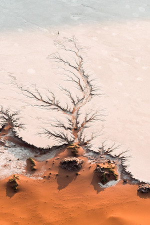 Aerial capture of Sossusvlei, Namibia, in color.
