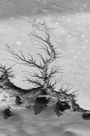 Aerial capture of Sossusvlei, Namibia, in black & white.
