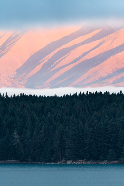 Layers at sunrise on Pukaki Lake, New Zealand. One of my favorite images I have had the pleasure of making.