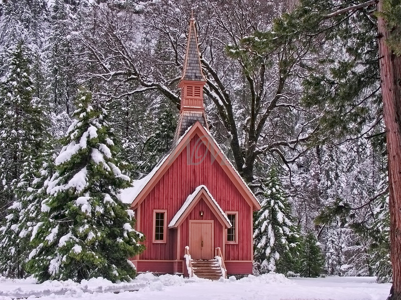 Chapel in the Snow: Yosemite National Park, California