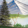 """Stacey Sparrow Murphy in her shop """"Art on the rocks"""" in Fitchburg showed how to paint like Bob Ross on Friday, September 27, 2019. This was the finished painting. SENTINEL & ENTERPRISE/JOHN LOVE"""
