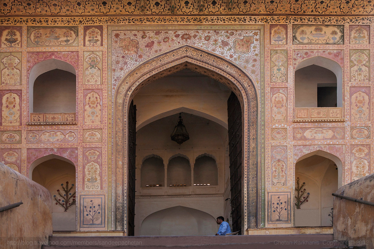 Ganesh Pol, the main entrance door to the Amer fort in Jaipur, India