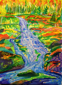 Shelving Rock Falls, watercolor, 10x14, oct 23, 2014