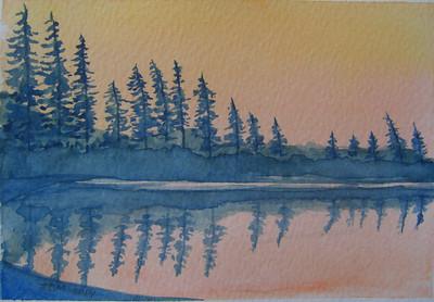 Sand Lake Dawn, 4x6 watercolor sketch, jan 8, 2014 CIMG9296