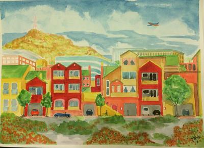 View from Jenny's Loft, Tempe, AZ, 11x15 watercolor, oct 9, 2014