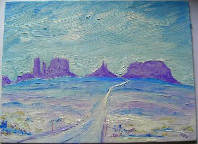 Monument Valley - Winter, 4x6, oil, mar 14, 2014 CIMG9504