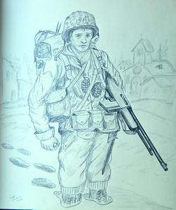 Dad, feb 1945, Saar River Crossing , 14x17, pencil, completed apr 28, 2014 DSCN9608 - Copy