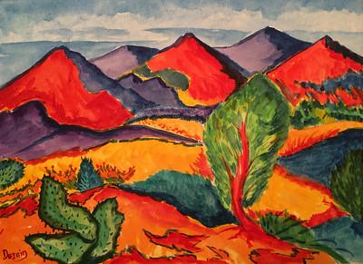 Les Arbres, Derain, watercolor, 11x15, oct 10, 2014