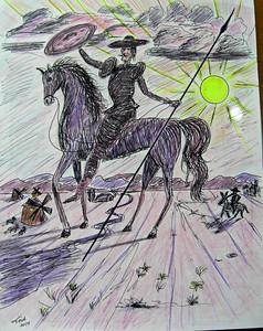 Don Quixote-No 2, pen & color pencil, 9x12, may 23, 2014 CIMG9768 - Copy